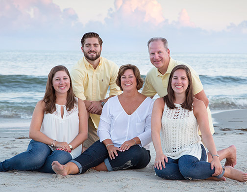 Beach location family portrait
