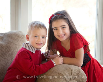 Christmas portrait - two kids in Pitman NJ