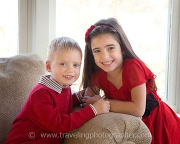Christmas portrait - two kids in Pitman NJ