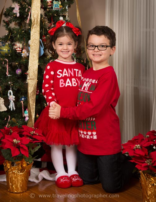 Christmas photos taken of children at home by Bruce Lovelace, The Traveling Photographer
