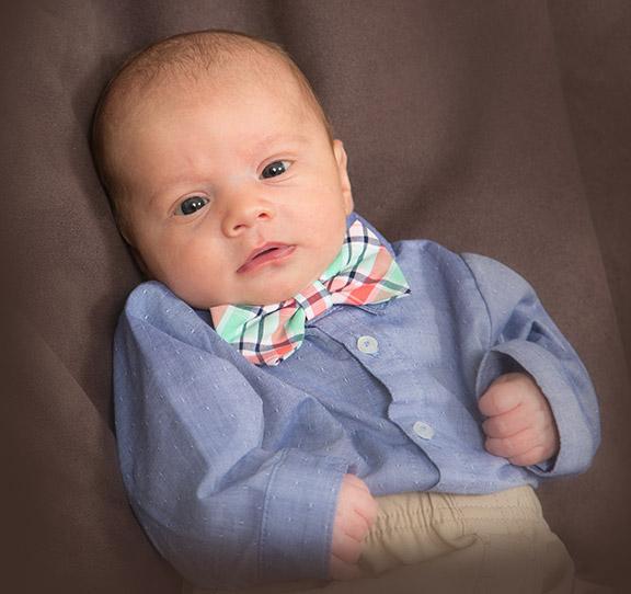 portrait of newborn with bow tie