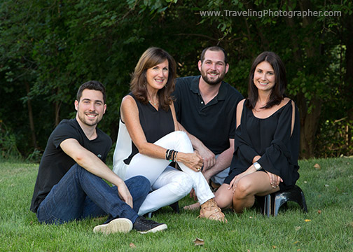 Outdoor family portrait of 5 people in Cherry Hill New Jersey