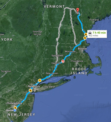 Travel Time to Bartlett New Hampshire